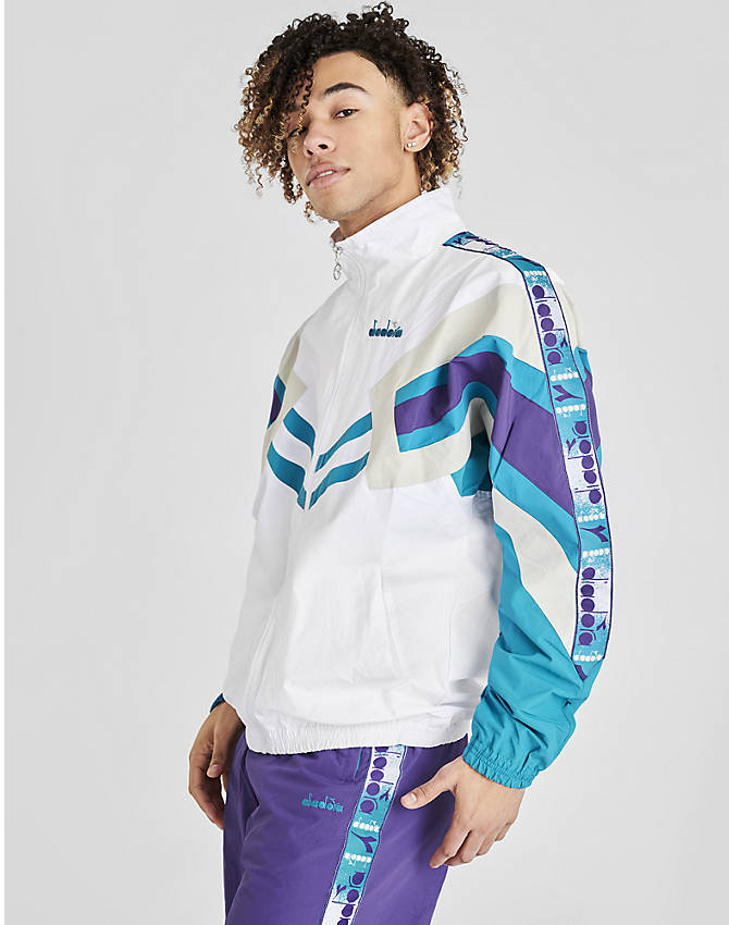 Front view of Men's Diadora Track Jacket in Optical White