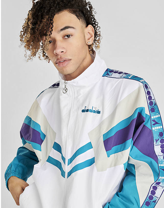 Back Left view of Men's Diadora Track Jacket in Optical White