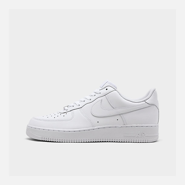 Right view of Men's Nike Air Force 1 Low Casual Shoes in White/White