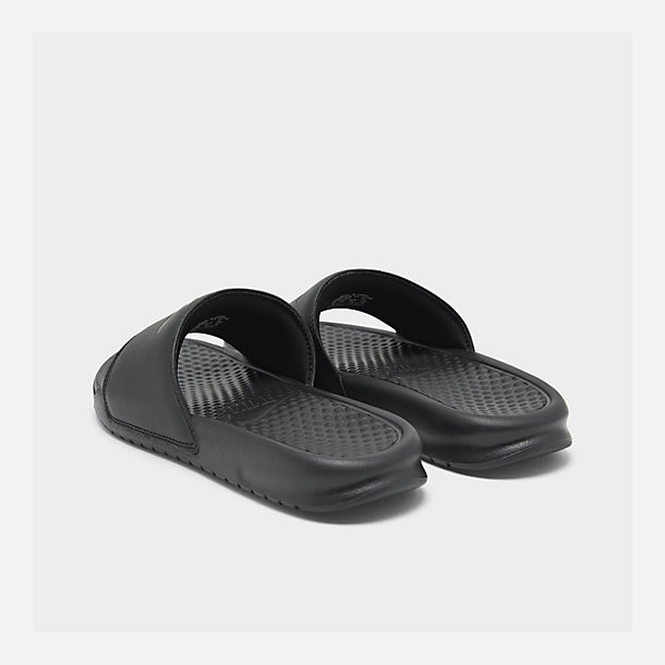 check out 26ae3 cd70d Left view of Women s Nike Benassi JDI Swoosh Slide Sandals in Black Rose  Gold