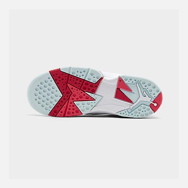 f1efc2a2790 Bottom view of Girls' Little Kids' Jordan Retro 7 Basketball Shoes in White/