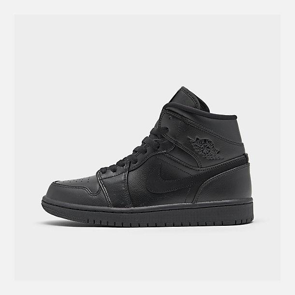 Right view of Men's Air Jordan 1 Mid Retro Basketball Shoes in Black/Black/Black
