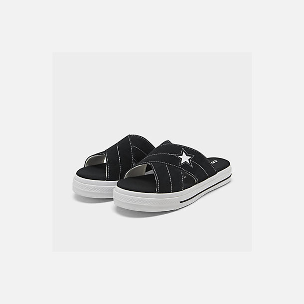 Three Quarter view of Women's Converse One Star Slip Athletic Slide Sandals in Black/White