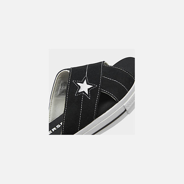 Front view of Women's Converse One Star Slip Athletic Slide Sandals in Black/White
