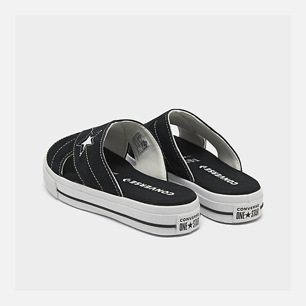 Left view of Women's Converse One Star Slip Athletic Slide Sandals in Black/White