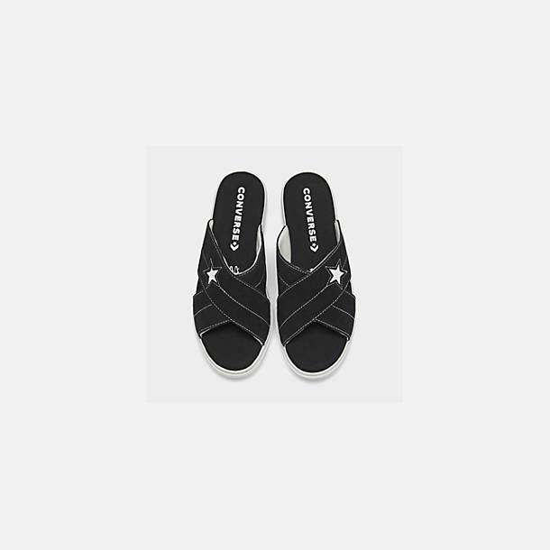 Back view of Women's Converse One Star Slip Athletic Slide Sandals in Black/White