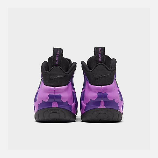 Left view of Men's Nike Air Foamposite Pro Basketball Shoes in Black/Court Purple/Hyper Violet