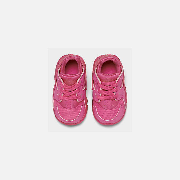 Back view of Girls' Toddler Nike Huarache Run Casual Shoes in Laser Fuchsia/Laser Fuchsia Femme