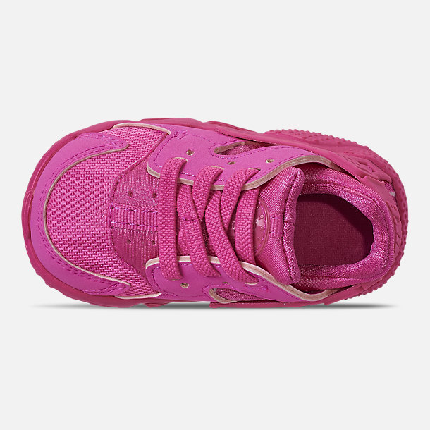 Top view of Girls' Toddler Nike Huarache Run Casual Shoes in Laser Fuchsia/Laser Fuchsia Femme