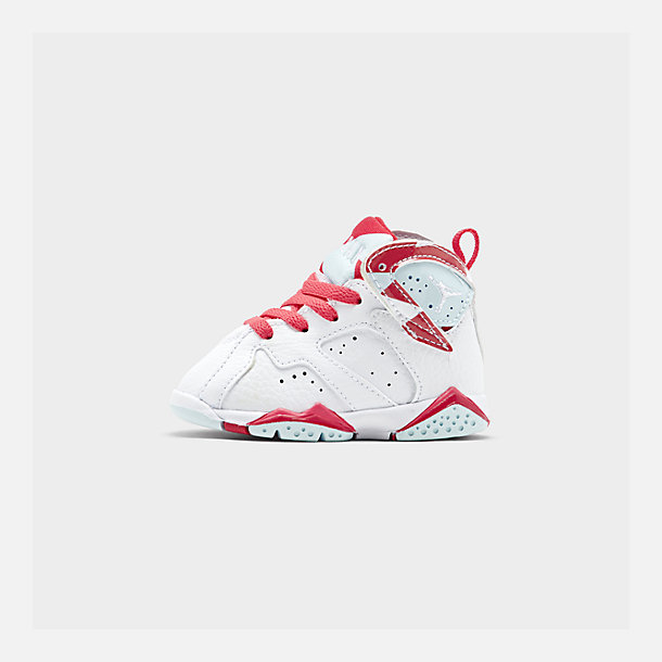 Right view of Girls' Toddler Air Jordan Retro 7 Basketball Shoes in White/White/Topaz Mist/Ember Glow