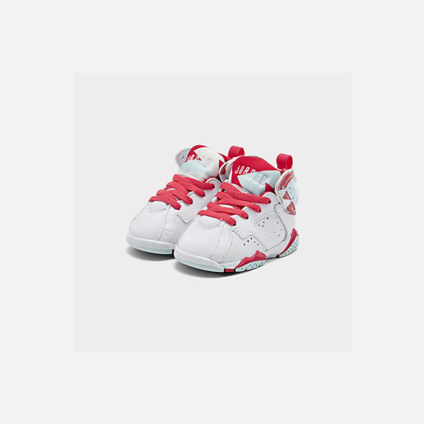 Three Quarter view of Girls' Toddler Air Jordan Retro 7 Basketball Shoes in White/White/Topaz Mist/Ember Glow