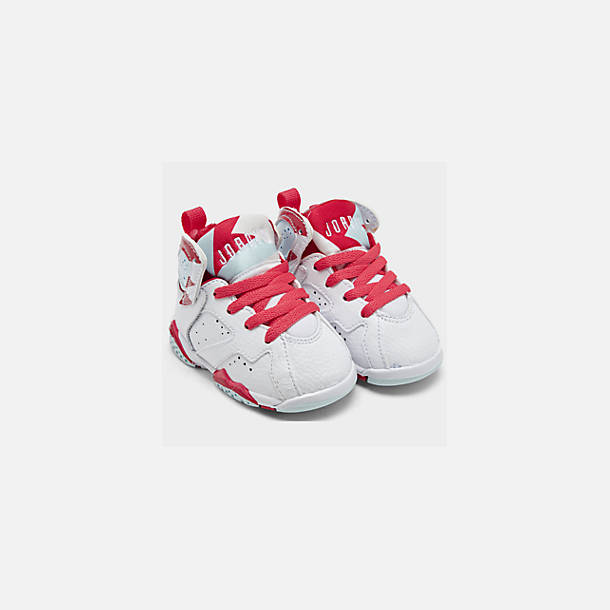 Front view of Girls' Toddler Air Jordan Retro 7 Basketball Shoes in White/White/Topaz Mist/Ember Glow