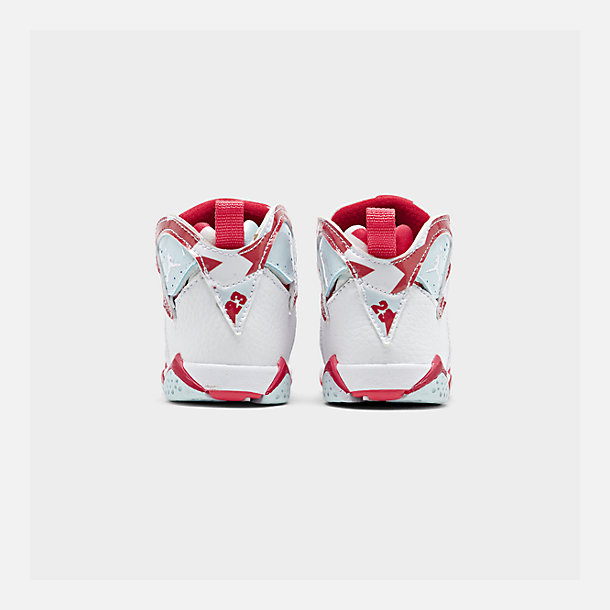 Left view of Girls' Toddler Air Jordan Retro 7 Basketball Shoes in White/White/Topaz Mist/Ember Glow