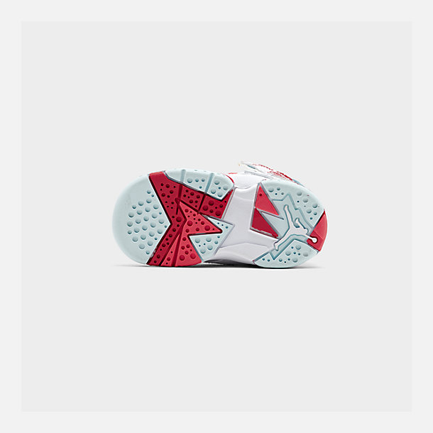 Bottom view of Girls' Toddler Air Jordan Retro 7 Basketball Shoes in White/White/Topaz Mist/Ember Glow