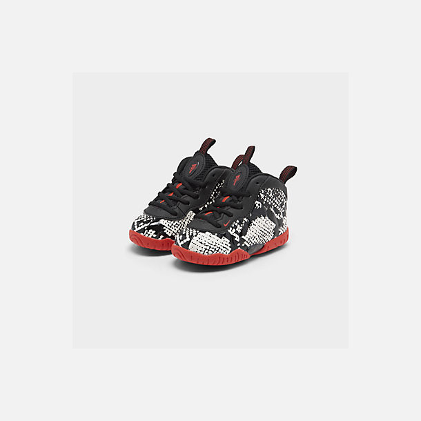 Three Quarter view of Kids' Toddler Nike Little Posite One Basketball Shoes in Sail/Habanero Red/Black