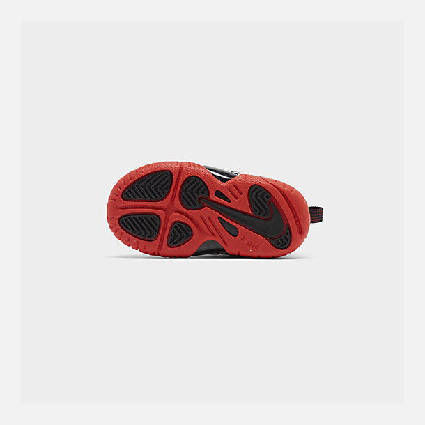 Bottom view of Kids' Toddler Nike Little Posite One Basketball Shoes in Sail/Habanero Red/Black
