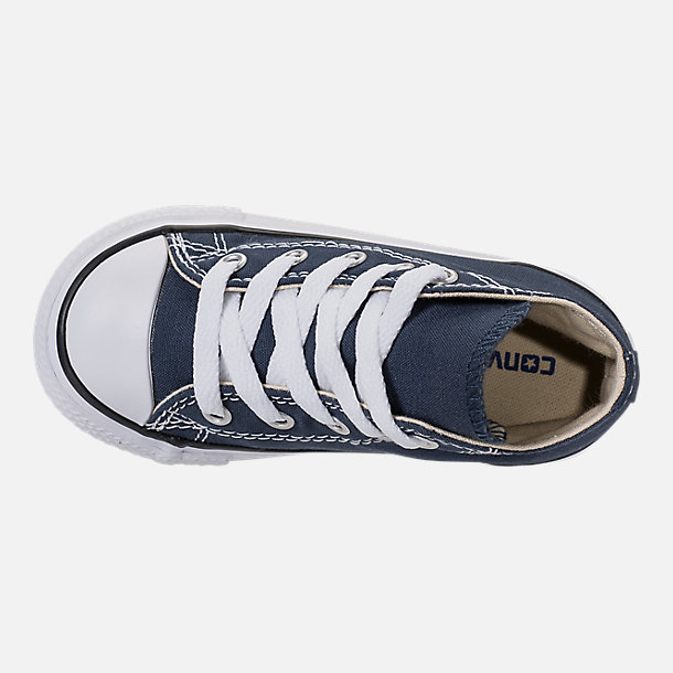 Top view of Kids' Toddler Converse Chuck Taylor Hi Casual Shoes in Navy
