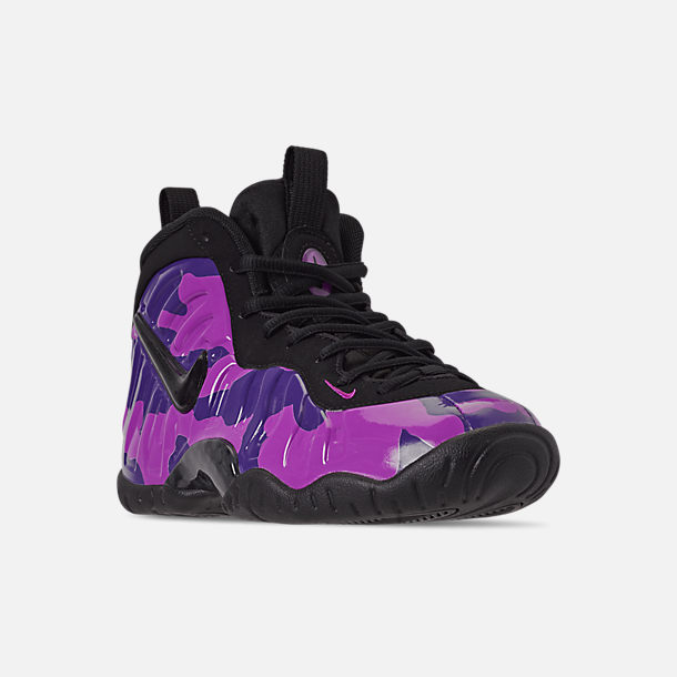 Three Quarter view of Little Kids' Nike Little Posite Pro Basketball Shoes in Black/Court Purple/Hyper Violet
