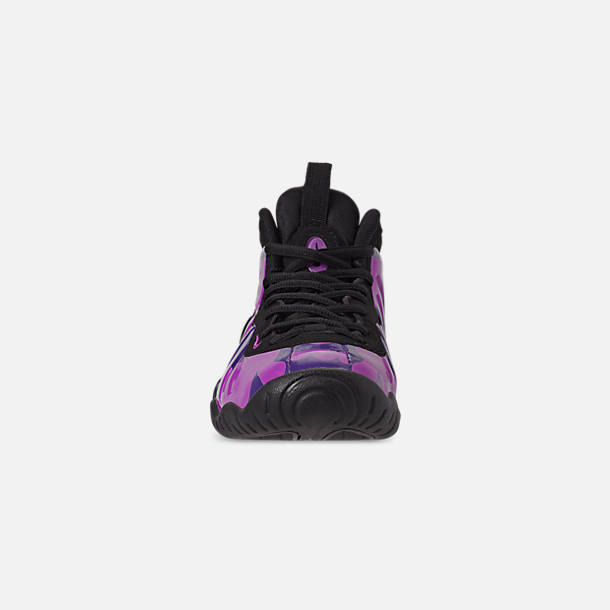 Front view of Little Kids' Nike Little Posite Pro Basketball Shoes in Black/Court Purple/Hyper Violet