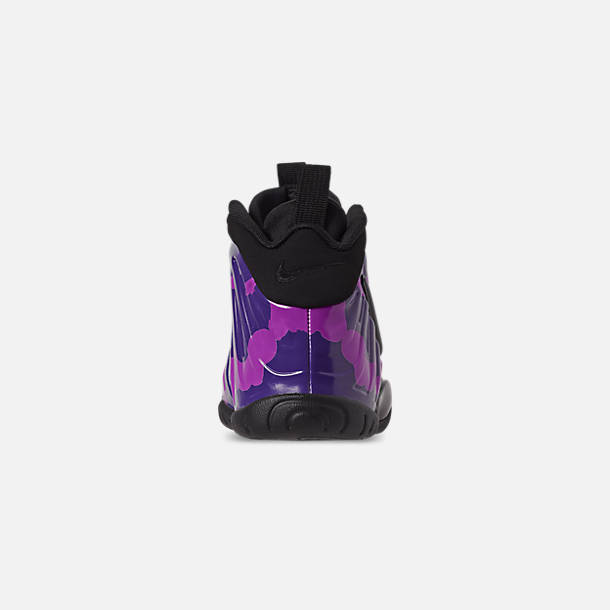 Back view of Little Kids' Nike Little Posite Pro Basketball Shoes in Black/Court Purple/Hyper Violet