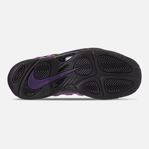 Bottom view of Little Kids' Nike Little Posite Pro Basketball Shoes in Black/Court Purple/Hyper Violet
