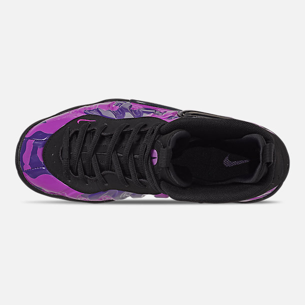 Top view of Little Kids' Nike Little Posite Pro Basketball Shoes in Black/Court Purple/Hyper Violet