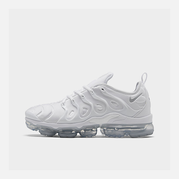 Right view of Men's Nike Air VaporMax Plus Running Shoes in White/Pure Platinum