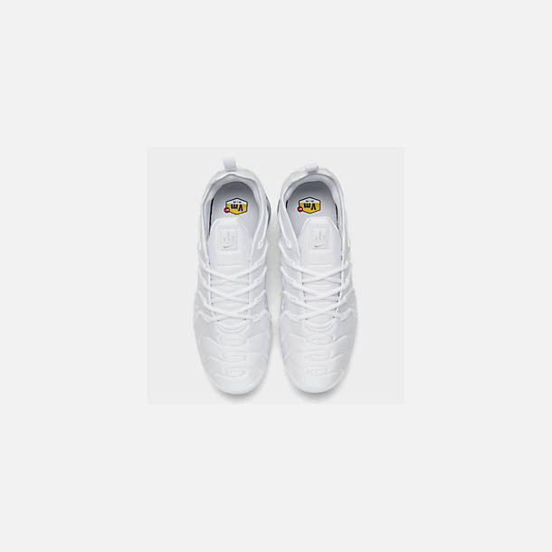 Back view of Men's Nike Air VaporMax Plus Running Shoes in White/Pure Platinum