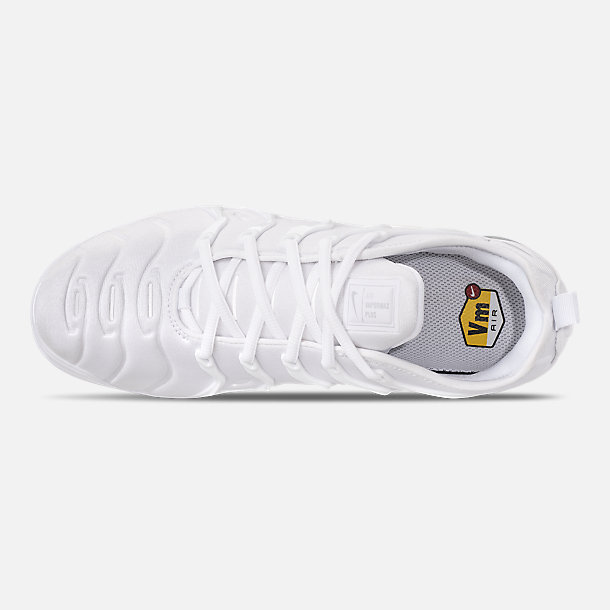 Top view of Men's Nike Air VaporMax Plus Running Shoes in White/Pure Platinum