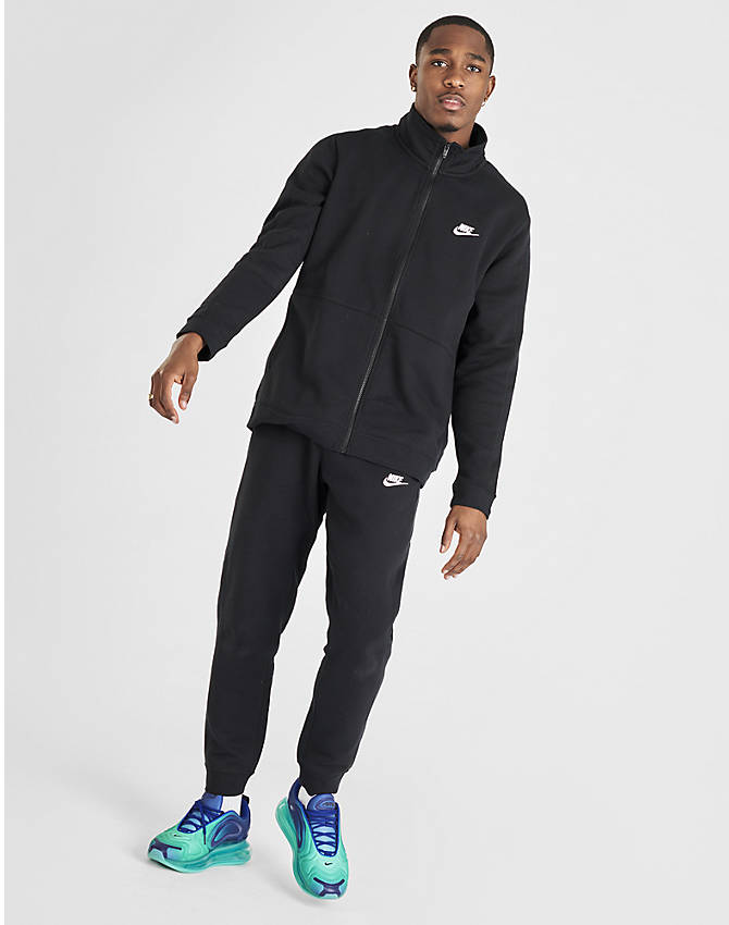 Front Three Quarter view of Men's Nike Sportswear Fleece Track Suit in Black