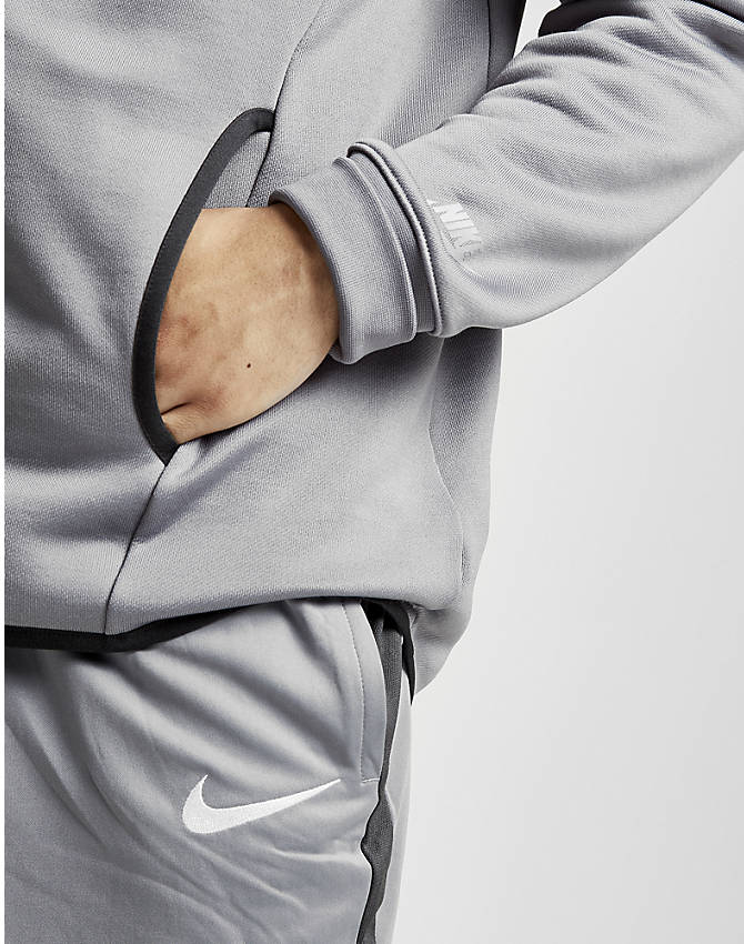 Back Right view of Men's Nike Air Max Full-Zip Hoodie in Grey