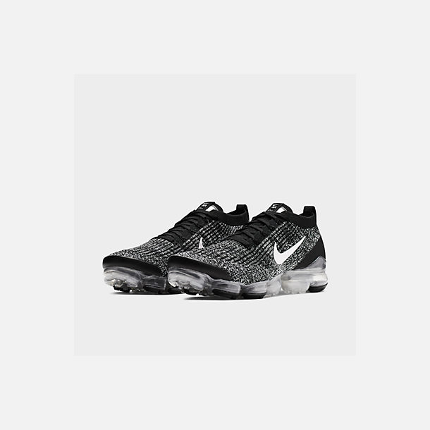 Three Quarter view of Men's Nike Air VaporMax Flyknit 3 Running Shoes in Black/White/Metallic Silver