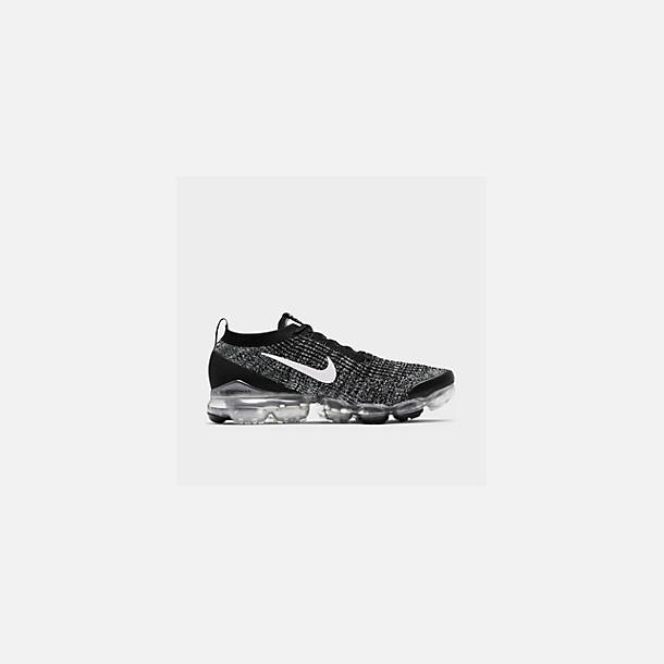 Front view of Men's Nike Air VaporMax Flyknit 3 Running Shoes in Black/White/Metallic Silver