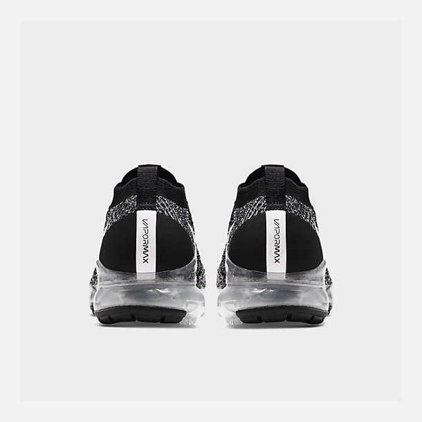 Left view of Men's Nike Air VaporMax Flyknit 3 Running Shoes in Black/White/Metallic Silver