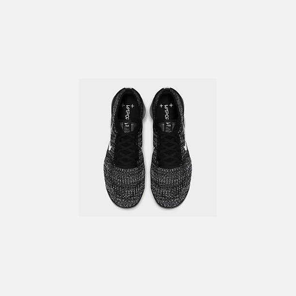 Back view of Men's Nike Air VaporMax Flyknit 3 Running Shoes in Black/White/Metallic Silver