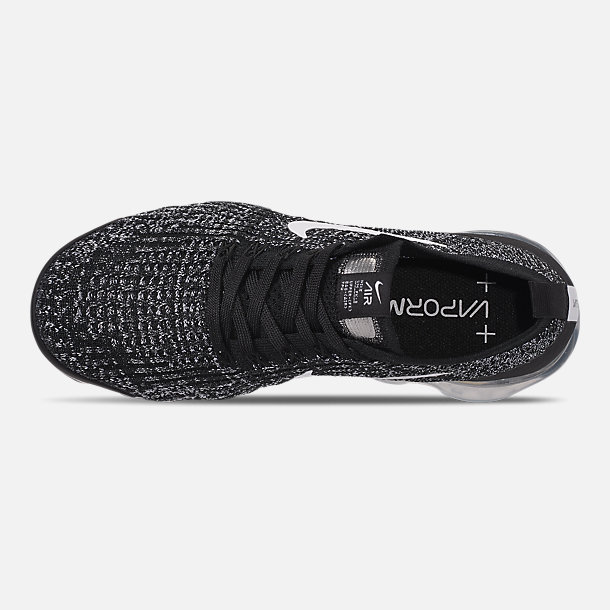 Top view of Men's Nike Air VaporMax Flyknit 3 Running Shoes in Black/White/Metallic Silver