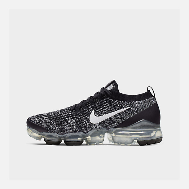 398b2730db Right view of Women's Nike Air VaporMax Flyknit 3 Running Shoes in Black/ White/