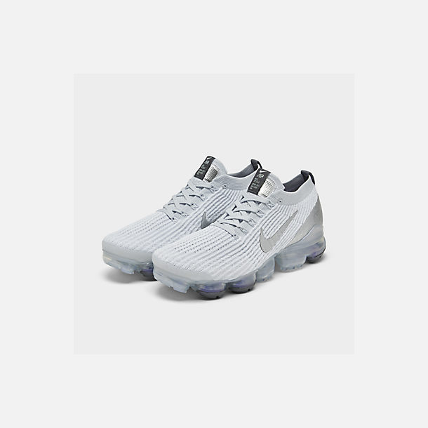 Three Quarter view of Women's Nike Air VaporMax Flyknit 3 Running Shoes in White/Metallic Silver/Pure Platinum