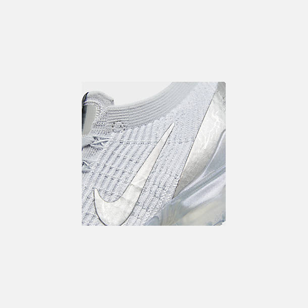 Front view of Women's Nike Air VaporMax Flyknit 3 Running Shoes in White/Metallic Silver/Pure Platinum