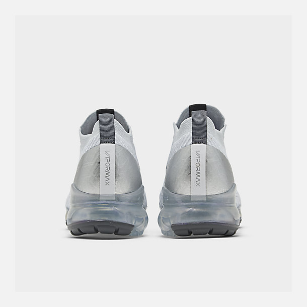 Left view of Women's Nike Air VaporMax Flyknit 3 Running Shoes in White/Metallic Silver/Pure Platinum