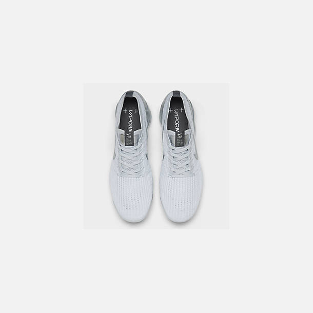 Back view of Women's Nike Air VaporMax Flyknit 3 Running Shoes in White/Metallic Silver/Pure Platinum