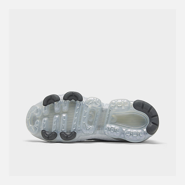 Bottom view of Women's Nike Air VaporMax Flyknit 3 Running Shoes in White/Metallic Silver/Pure Platinum