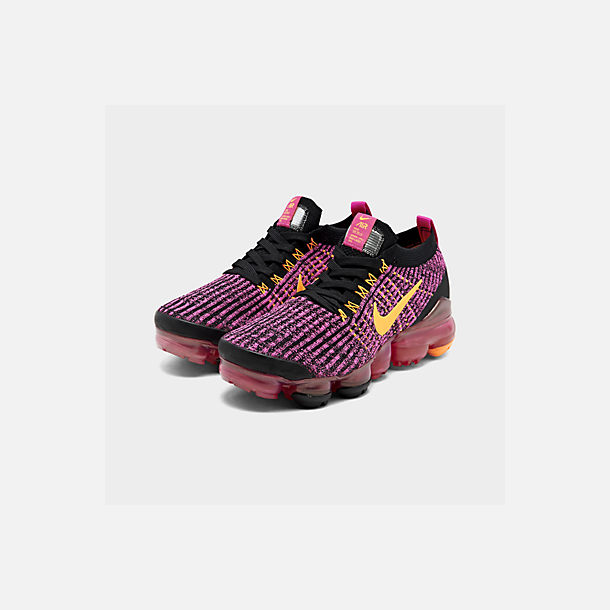 Three Quarter view of Women's Nike Air VaporMax Flyknit 3 Running Shoes in Laser Fuchsia/Laser Orange/Black