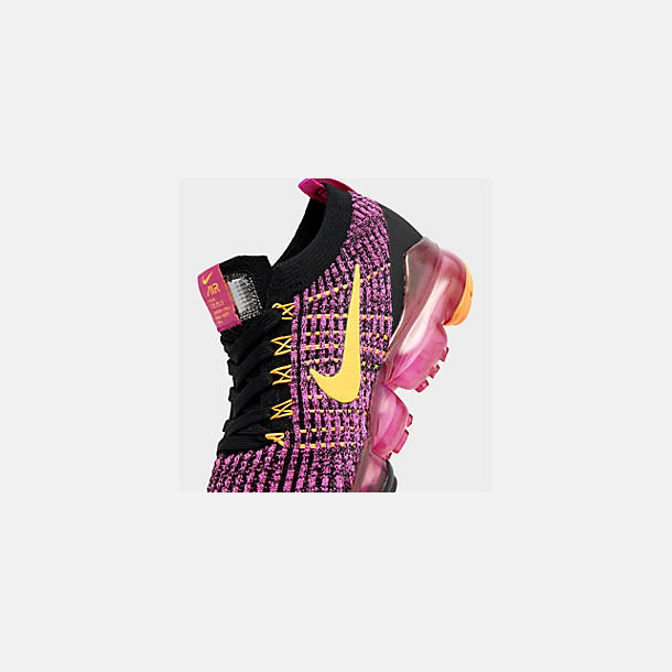 Front view of Women's Nike Air VaporMax Flyknit 3 Running Shoes in Laser Fuchsia/Laser Orange/Black