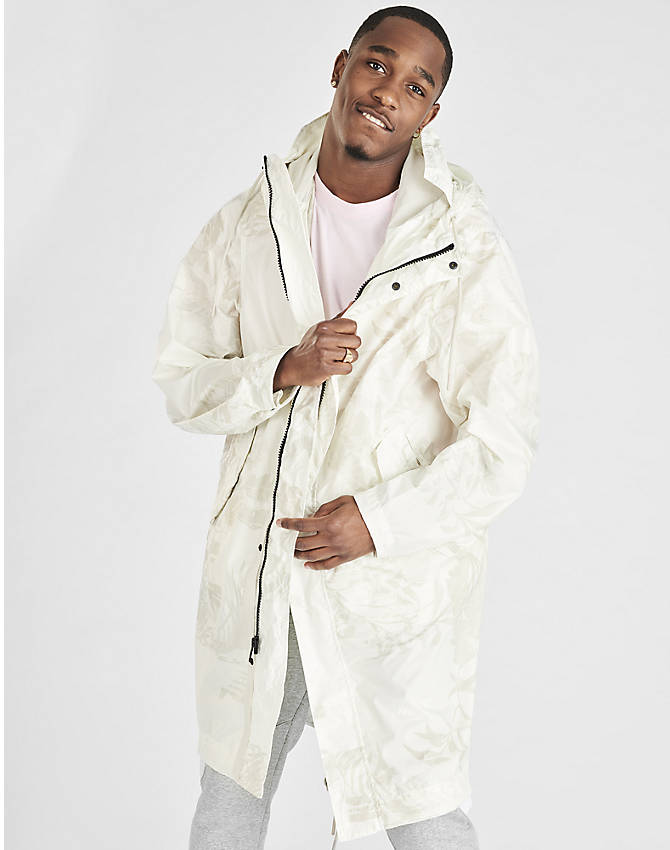 Front Three Quarter view of Men's Nike Sportswear Printed Parka in White/Light Bone
