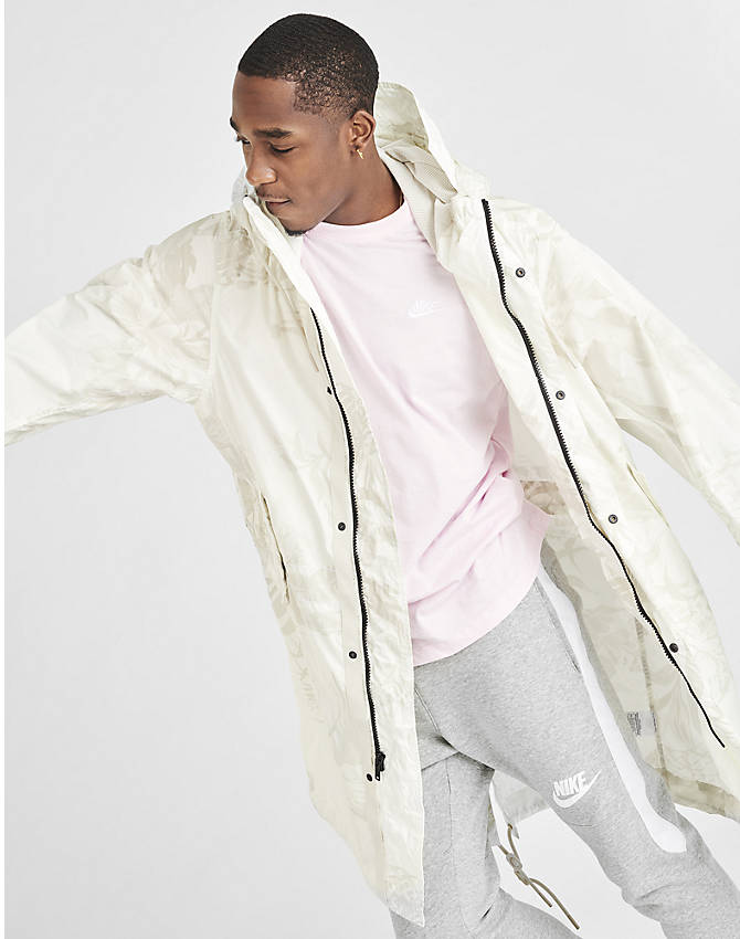 Back Right view of Men's Nike Sportswear Printed Parka in White/Light Bone