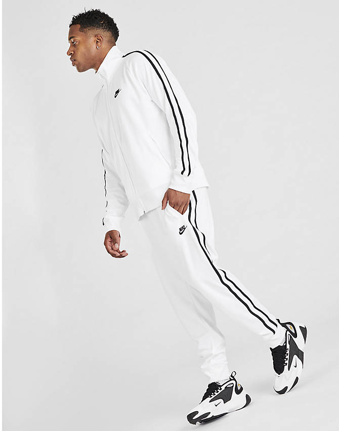 Front Three Quarter view of Men's Nike Sportswear Tribute Track Pants in White