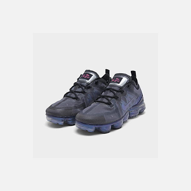 Three Quarter view of Women's Nike Air VaporMax 2019 Running Shoes in Black/Laser Fuchsia/Anthracite