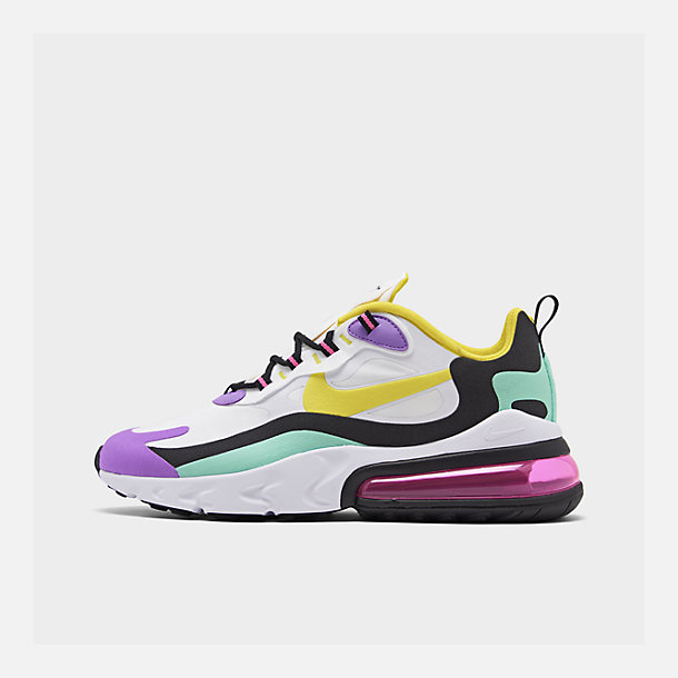 Right view of Women's Nike Air Max 270 React Casual Shoes in White/Dynamic Yellow/Black/Bright V