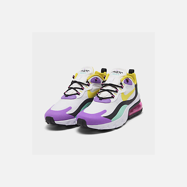 Three Quarter view of Women's Nike Air Max 270 React Casual Shoes in White/Dynamic Yellow/Black/Bright V